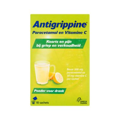 Antigrippine Paracetamol en Vitamine C Poeder voor Drank 10 Sachets