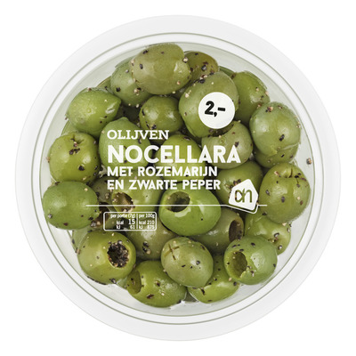 Huismerk Nocellara olijven rozemarijn-peper