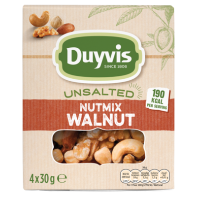 Duyvis Unsalted nutmix walnut 4-pack