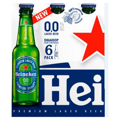 Heineken 0.0 Alcoholvrij Bier Fles 6 x 25 cl