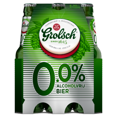 Grolsch 0.0% Alcoholvrij Bier Flessen 6 x 30 cl