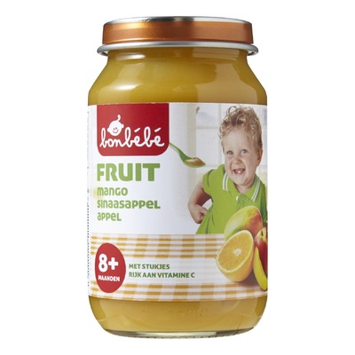 Bonbébé fruitpotje 8 mnd  mango/sinaasappel/appel