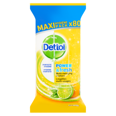 Dettol Power & Fresh Multi-Reiniging Doekjes Sprankelende Citroen & Limoen Maxi Pack 80 Stuks