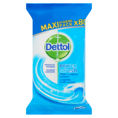 Dettol Power & Fresh Multi-Reiniging Doekjes Oceaanfris Maxi Pack Hygiene Pack 80 Stuks