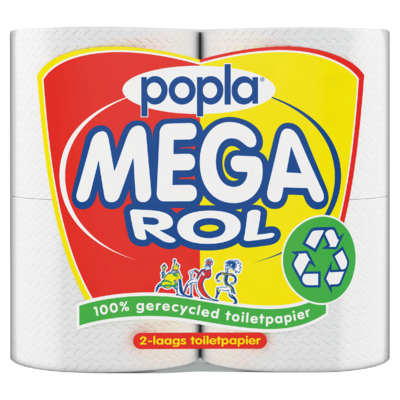 Popla Mega Rol 2-Laags Toiletpapier 4 Rollen