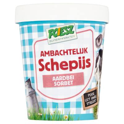 Poiesz Ambachtelijk Schepijs Aardbei Sorbet 500 ml