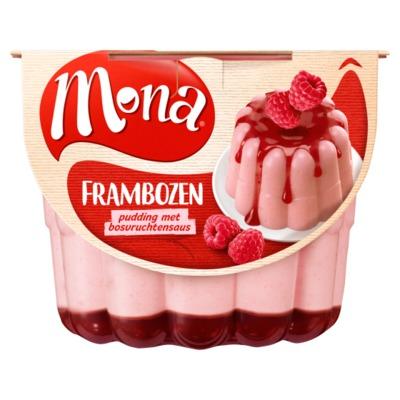 Mona pudding frambozen 450 ml.