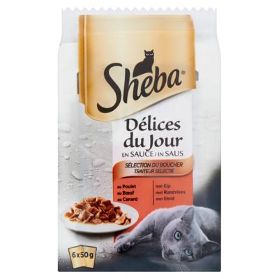 Sheba Délices du Jour Traiteur Selectie in Saus 6 x 50 g