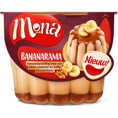 Mona Pudding banaan walnoot karamelsaus