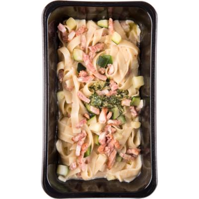 Mealmasters Tagliatelle carbonara courgette spekjes en pesto