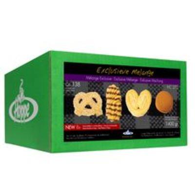 Exclusieve Melange 4 soorten koekjes in 8 vershoudtrays mix, doos 136 stuks