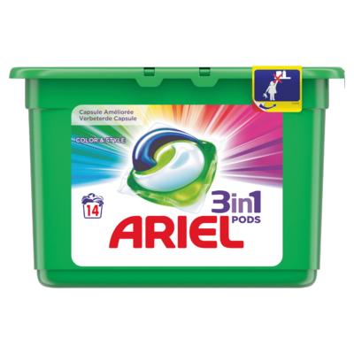 Ariel Vloeibaar wasmiddel pods color & style