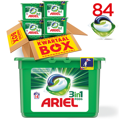 Ariel 3in1 pods regular capsules kwartaalbox 84 wasbeurten