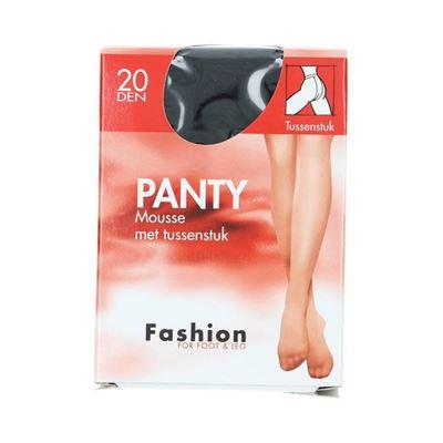 Fashion  panty mousse zwart met tussenstuk maat 48-52, 20 denier