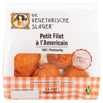 De vegetarische slager Petit Filet à l'Americain 5 x 24 g