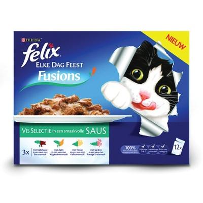 Felix elke dag feest fusion kattenvoer visselectie in smaakvolle saus
