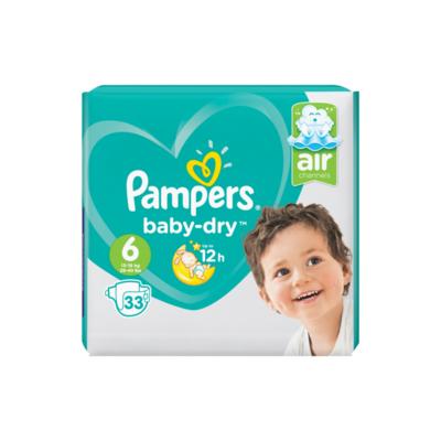 Pampers Baby-Dry Maat 6, 33 Luiers, Voor Droge Ademende Huid