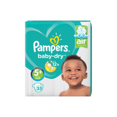 Pampers Baby-Dry Maat 5+, 35 Luiers, Droge Ademende Huid
