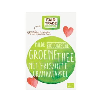 Fair Trade Original Milde biologische Groene Thee met Friszoete Granaatappel 20 zakjes à