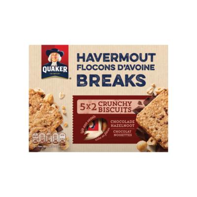 Quaker Havermout Breaks Granen Biscuits Chocolade Hazelnoot