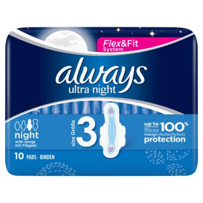 Always Ultra Night (Maat 3) Maandverband Vleugels x10