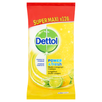Dettol Power & Fresh Multi-Reinigings Doekjes Sprankelende Citroen & Limoen Super Maxi x126 Stuks