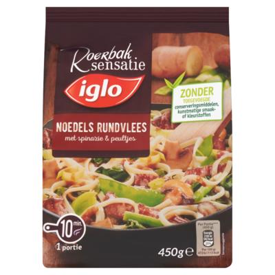 Iglo Roerbak Sensatie Noedels Rundvlees met Spinazie & Peultjes 450 g