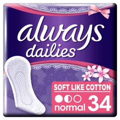 Always Dailies Soft Like Cotton Normal Fresh Inlegkruisjes x34