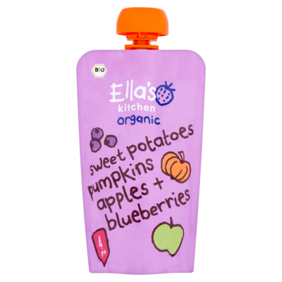 Ella's Kitchen Sweet potatoes pumpkins apples bluebaerry 4 maanden