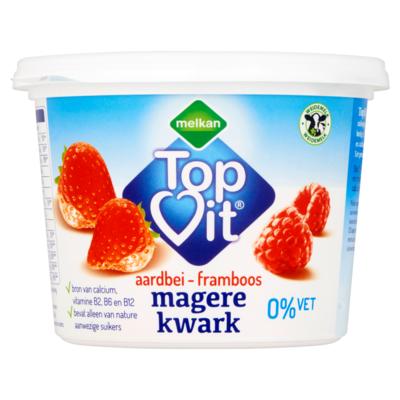 Huismerk TopVit Aardbei - Framboos Magere Kwark 0% Vet 500 g