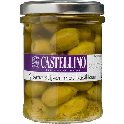 Castellino Groene olijven met basilicum