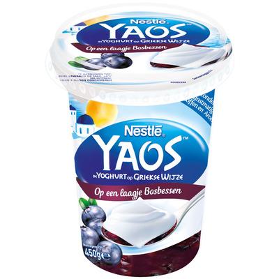 Nestlé Greek style yoghurt op laagje bosbessen