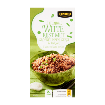 Huismerk 1 Minuut Witte Rijst met Groene Linzen, Gerst & Tarwe