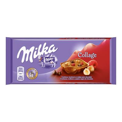 Milka Reep collage framboos-hazelnoot