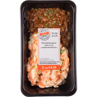 Mealmasters Wortelstamppot met ui en runderstoofvlees