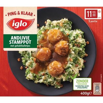 Iglo Ping & klaar andijvie stamppot met gehaktballetjes