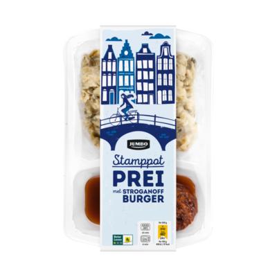 Huismerk Stamppot Prei met Stroganoffburger