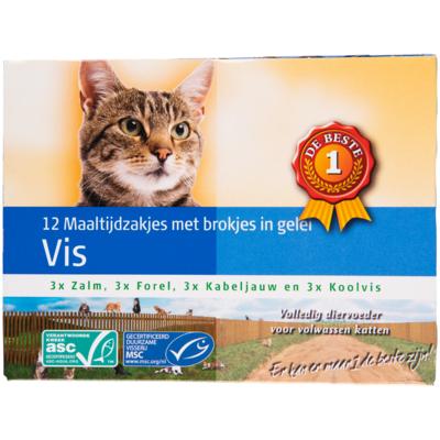 Huismerk Kattenvoer vis maaltijdzakjes in gelei 12 pack