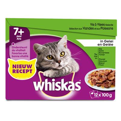 Whiskas Senior vlees en vis selectie in gelei
