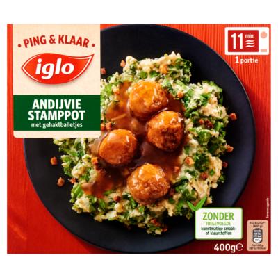 Iglo Ping & Klaar Andijvie Stamppot met Gehaktballetjes 400 g