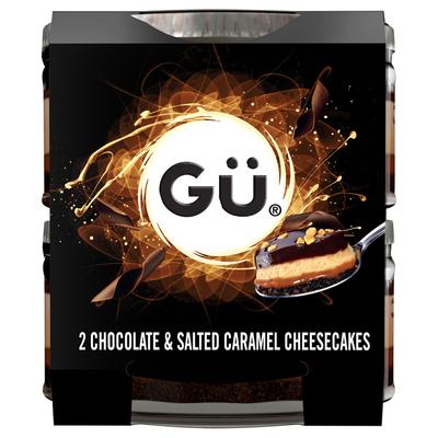 Gü Choco & salted caramel cheesecakes