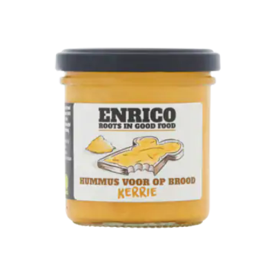 Enrico Hummus voor op Brood Kerrie