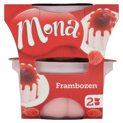 Mona Mini Frambozen Pudding met Rode Bessensaus 2 x 135 ml