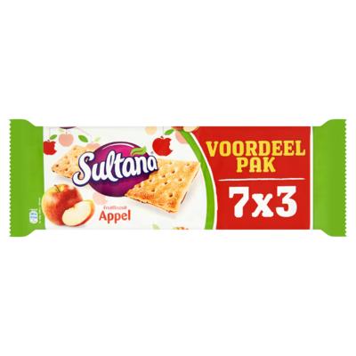Sultana FruitBiscuit Appel Voordeelpak 7 x 3 Stuks 306 g