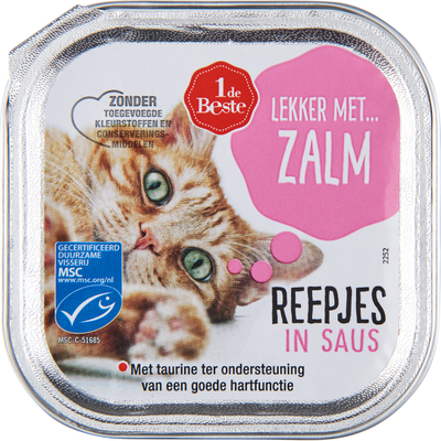Huismerk Kattenvoer zalm reepjes in saus