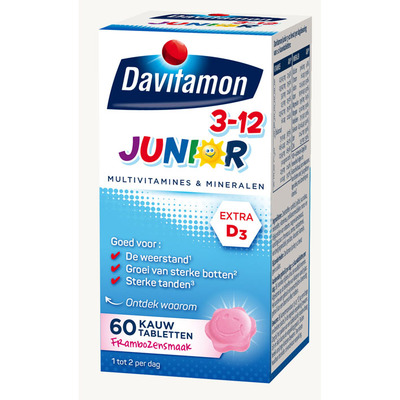 Davitamon Junior 3+ kauwvitamines framboos