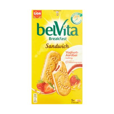 LiGa BelVita Sandwich Yoghurt Aardbei Volkoren Ontbijt Biscuit 5 x 2 Biscuits
