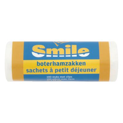 Smile Boterhamzakken 100 Stuks met Clips